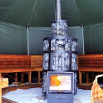 The octagonal shaped sauna tents measure 5m by 5m, seating 15 to 20 people comfortably