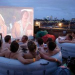 watching movies from hot tub at London rooftop cinema