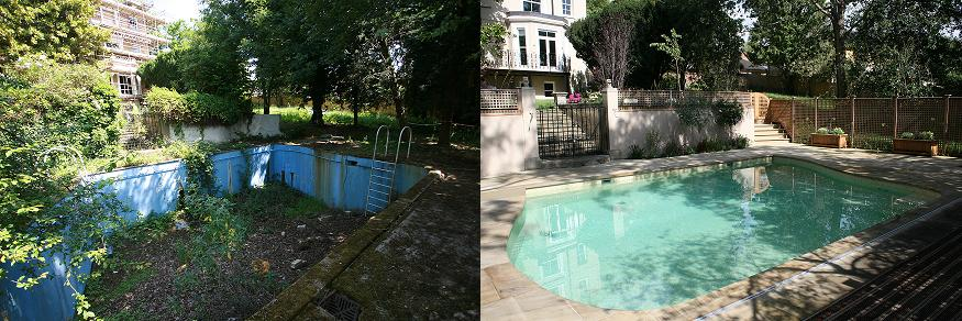 London Swimming Pool Company gave this 1930s pool a complete makeover while preserving the integrity of the original design features.
