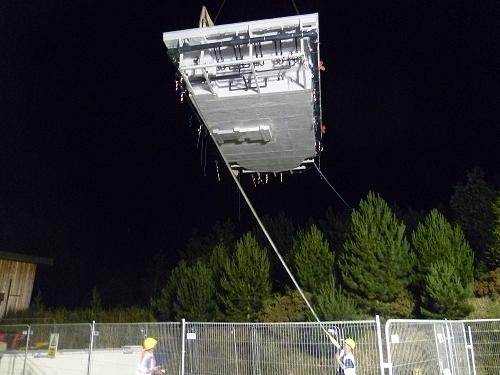 The Signature all-in-one pool is craned into place at Center Parc's Elveden resort in the early hours of the morning.