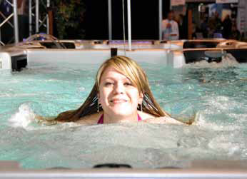 Catalina Spas brought their show swim spa to life with regular demonstrations.
