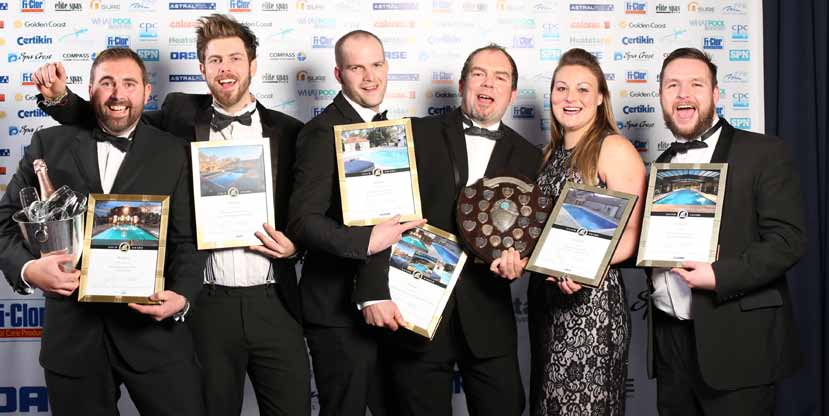 The XL Pools team notched up three gold and two silver accolades, plus the Dick Millward Trophy for Pool Contractor of the Year at the SPATA and BISHTA awards in February.