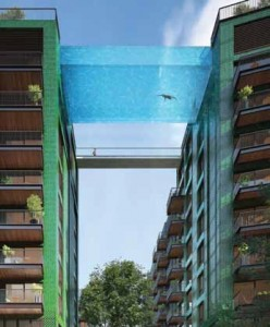 A world first, the sky-high pool will link two residential buildings at the 10th storey.