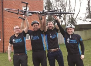 Michael Witney (far right) of Pollet Pool Group, is taking part in a charity cycle ride for Prostate Cancer UK.