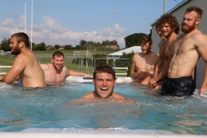 Immediately post-training and match, each player spends ten minutes stood up in the swim spa performing various exercises.