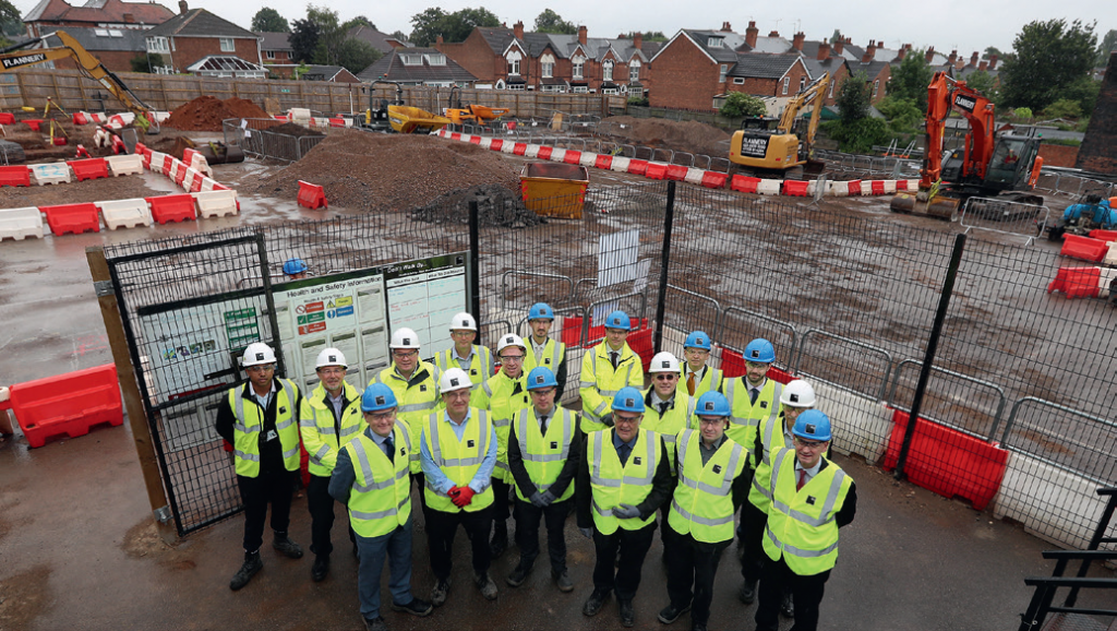 Representatives of Birmingham Community Leisure Trust, Birmingham City Council, ISG Construction plc and Sport England at the site of Erdington's new leisure centre as work gets under way.