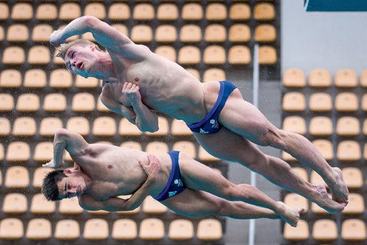 Leeds-based divers Jack Laugher and Chris Mears made history for Britain as they claimed the first ever diving gold medal for Team GB. Pic: SWpix.com.
