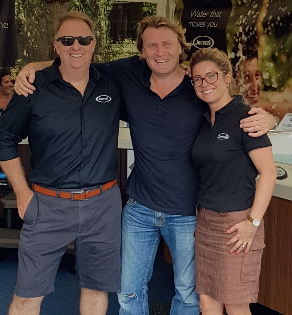 The Sapphire Spas team with celebrity gardener David Domoney.