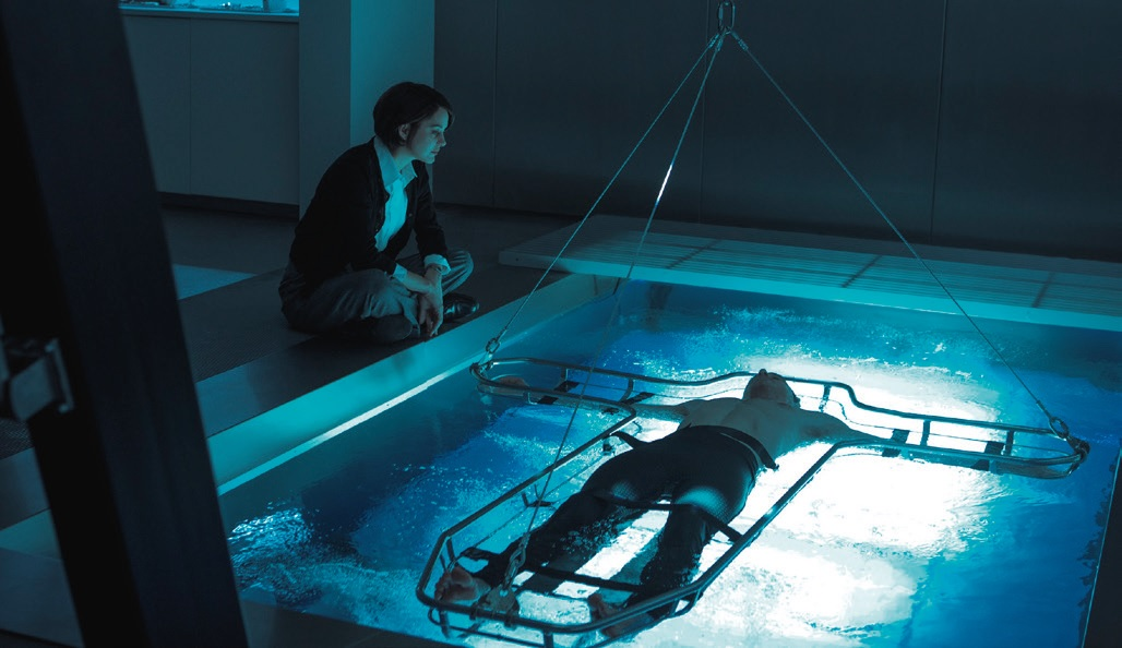 Michael Fassbender takes a dip in the Jetswim supplied by Sundance Pools UK in Assassin's Creed. Pic: @AssassinsCreed.