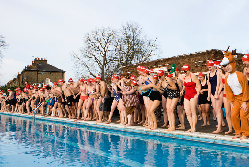Over 110 swimmers attended the Christmas Day Swim at Brockwell Lido last year, where the water temperature was around 7°C.