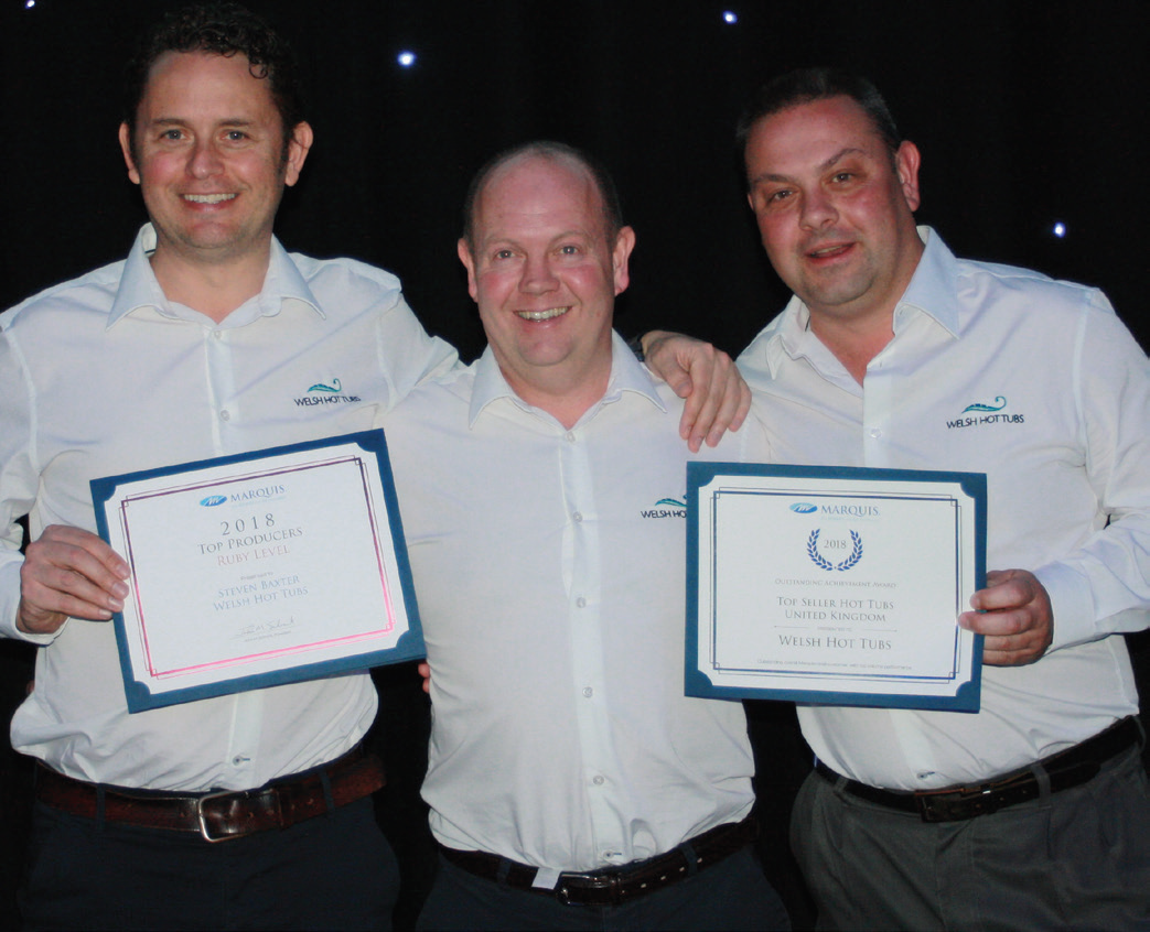 ABOVE: Steve Baxter and his Welsh Hot Tubs team were celebrating as top UK Marquis dealers.