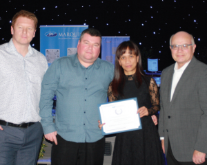ABOVE: Barnsley Hot Tubs were presented with their Outstanding UK Performance Award.