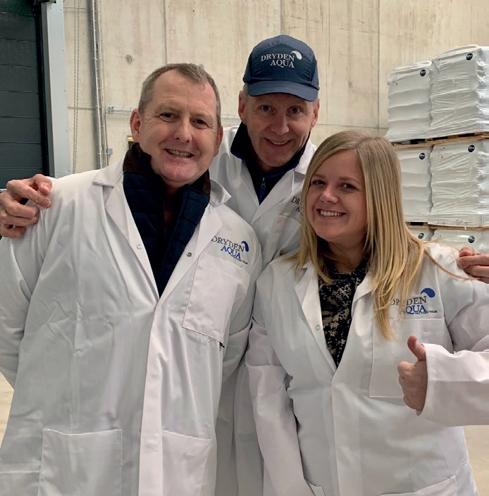 COMMERCIAL DIRECTOR, Beth Connor, of Swimming Pool Scene, joined Peter Turnbull, left, and Jimmy Lamb, centre, at the opening of Dryden Aqua's Swiss manufacturing base.