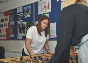JOINING THE TEAM LAST YEAR, Lani oves the family network at Superior Spas including the lunchtime table football sessions.