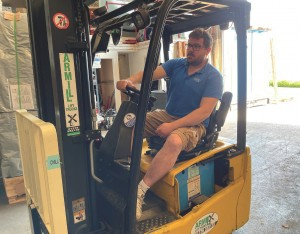 ALTHOUGH DRIVING THE FORKLIFT is not part of my day to day responsibilities, I am happy to lend a hand when necessary.