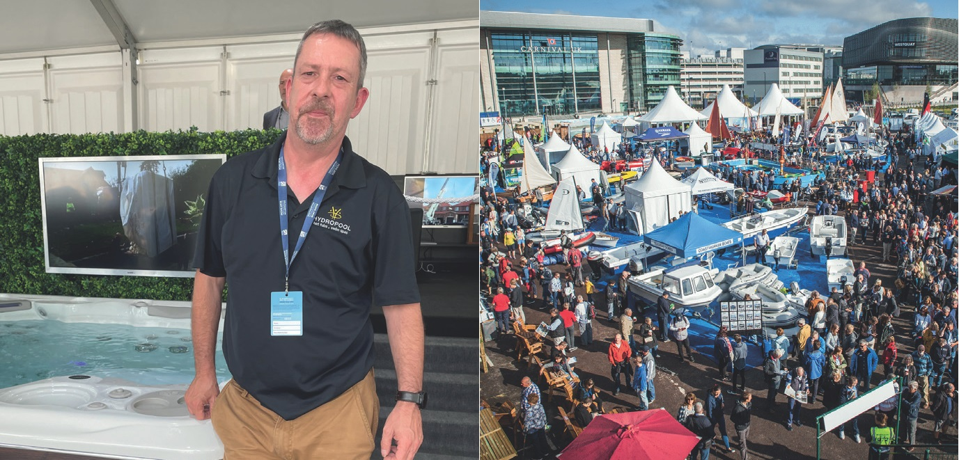 HARRY CARSON-PARKER, one of the Hydropool team, takes a quick break from a hectic Southampton Boat Show event.