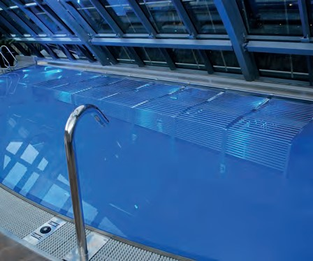 A STAINLESS STEEL POOL provides the focal point on the wellness journey.